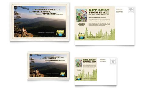 nature camping hiking postcard template design