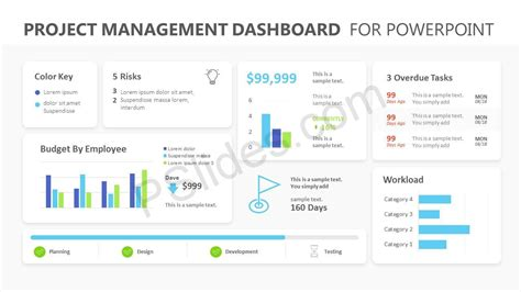 project management dashboard powerpoint template pslides
