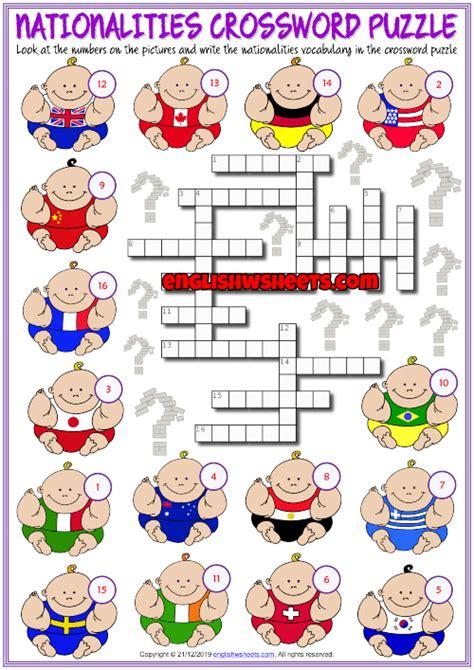 nationalities esl crossword puzzle worksheet  kids