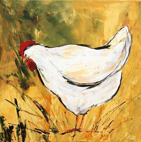 bloemen 3d dikke verf you tube schilderij kip handgeschilderd 90 x 90 cm kopen bij