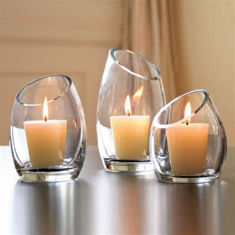 Hearthstone Diagonal Cut Glass Candle Holders  Modern