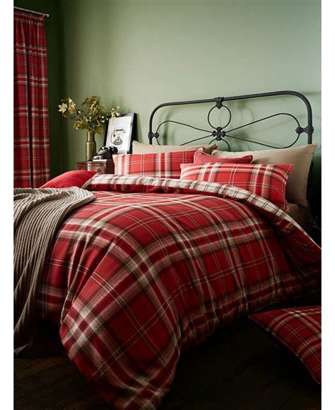 red tartan double duvet bedding set price  home