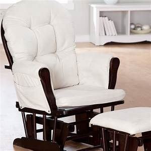 Storkcraft Bowback Glider And Ottoman Set EspressoBeige