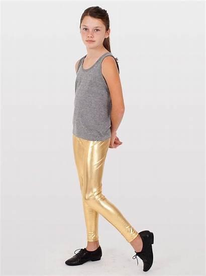 Leggings Shiny Tween Gold Legging Youth Tights