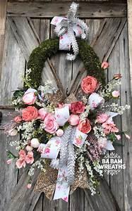 Spring, Wreath-, Floral, Wreath, -, Modern, Decor, -, Door, Hanging