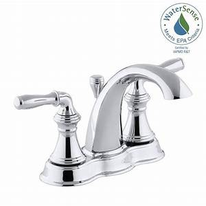kohler devonshire 4 in centerset 2 handle mid arc water With water saving bathroom faucets