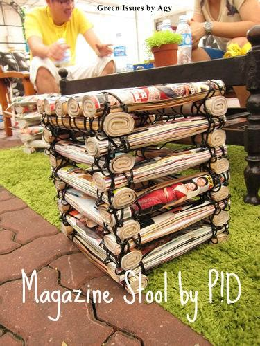 stool   upcycled magazines cable ties recyclart
