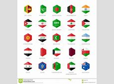 Asia Middle East And South Asia Flag Icons Hexagon Flat