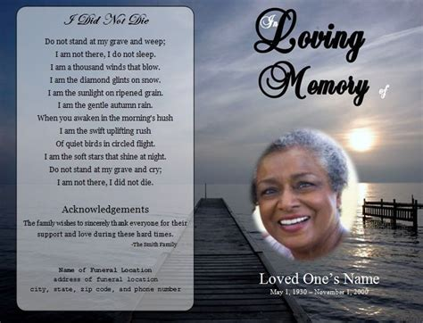 obituary program template  funeral program