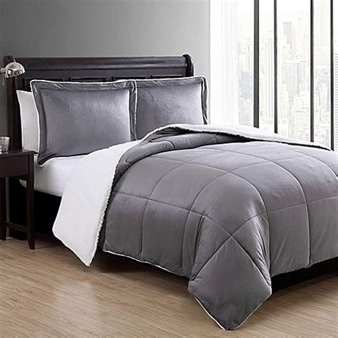 vcny home micro mink sherpa reversible comforter set bed