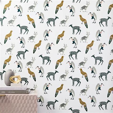 Woodland Animal Wallpaper - woodland animals wallpaper west elm