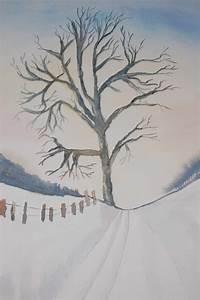 Bilder Bäume Gemalt : einsamer baum auf dem feld schnee winter baum aquarell von luchsin84 bei kunstnet ~ Orissabook.com Haus und Dekorationen