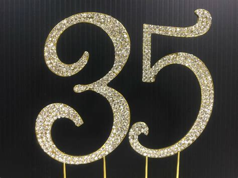 Gold Rhinestone Number  Cake Topper Th Birthday