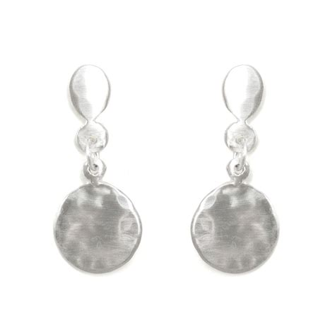 hammered disc earrings silver catbird