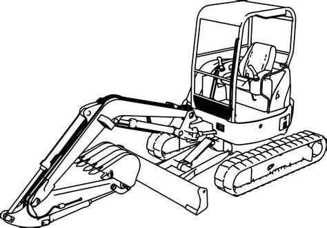 excavator mini excavator hitachi exu coloring page