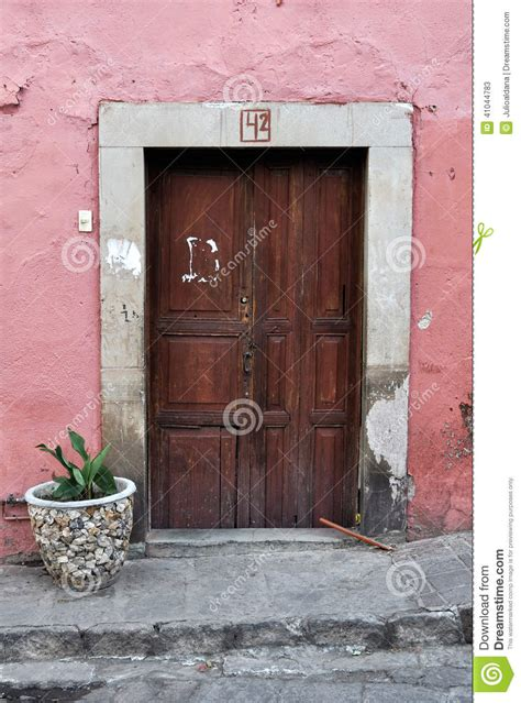 front    pink mexican house stock photo image
