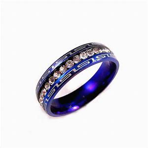 blue stainless steel clear cz 5mm wedding band engagement With blue steel wedding rings