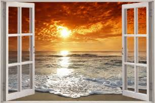 huge 3d window exotic ocean beach view wall stickers film