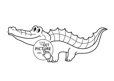 Funny Crocodile Cartoon Animals Coloring Pages For Kids