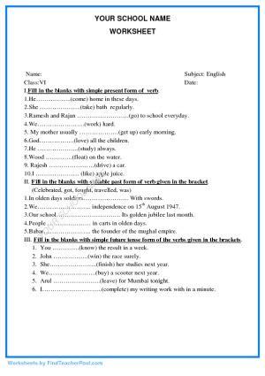 verb tenses find teacher post worksheets