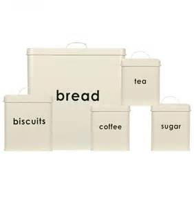 Plastic Kitchen Canisters 5 Pc Square Steel Storage Canisters Set Tea Coffee Sugar Biscuits Jars Bread Bin Ebay