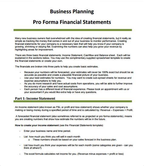 sample proforma income statement templates