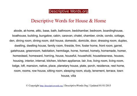 Adjectives To Describe Home Home Design