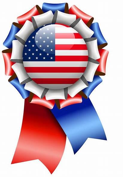 Flag Ribbon Clipart Usa Rosette United States