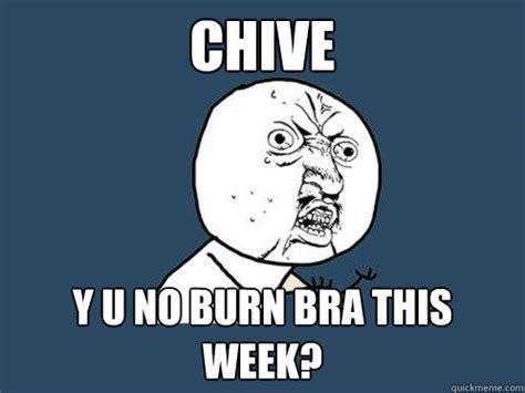 Chive Memes - chive y u no burn bra this week y u no quickmeme