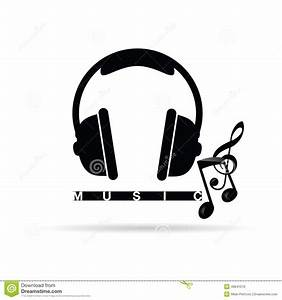 Headphones Vector With Music Notes Illustration Stock ...