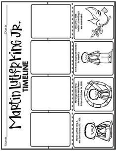 martin luther king jr timeline cut and paste freebie i am