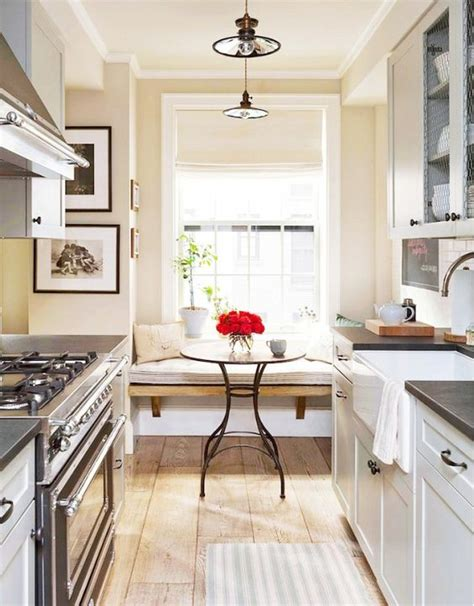galley kitchen with breakfast nook inside a manhattan apartment with rustic charm nooks 6782