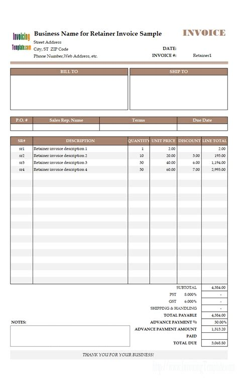 advance payment invoicing format