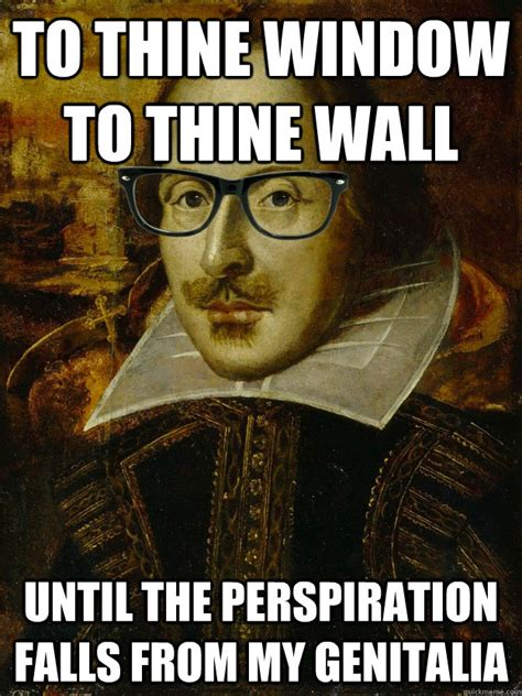 Shakespeare Meme - to thine window to thine wall until the perspiration falls from my genitalia hipster