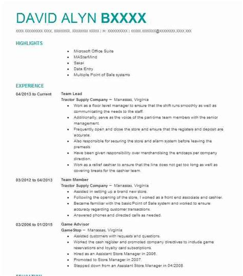 Resume For Team Leader Position by Team Lead Objectives Resume Objective Livecareer