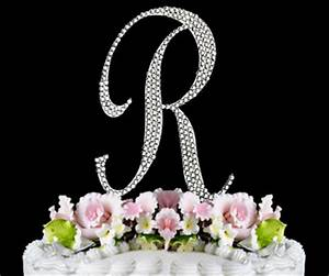 crystals wedding wedding cake toppers monograms letters With letter r cake topper