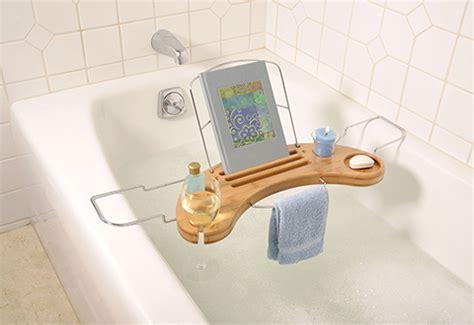 17 bamboo bathtub caddy with reading rack umbra