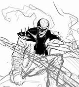 Ghost Rider Coloring Pages Drawing Hand Printable Adults sketch template