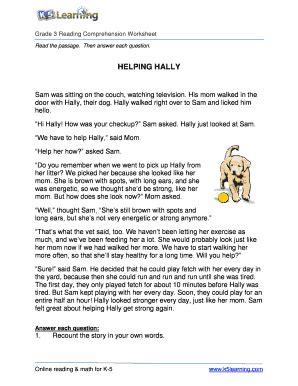 fillable online reading comprehension worksheet hally