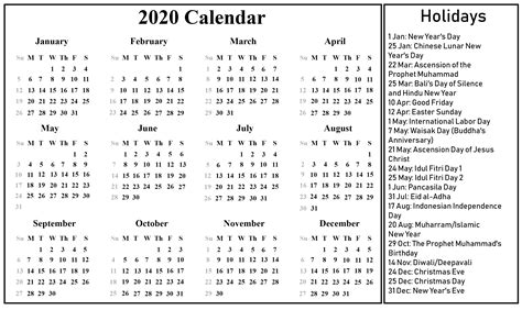 printable blank indonesia calendar   excel