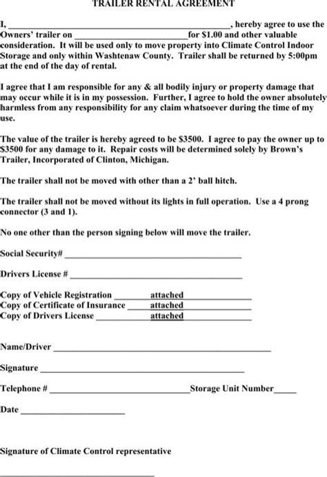 trailer rental agreement rental agreement templates
