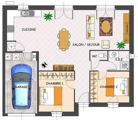 plan maison plain pied 2 chambres plan de maison 2 chambres salon cuisine