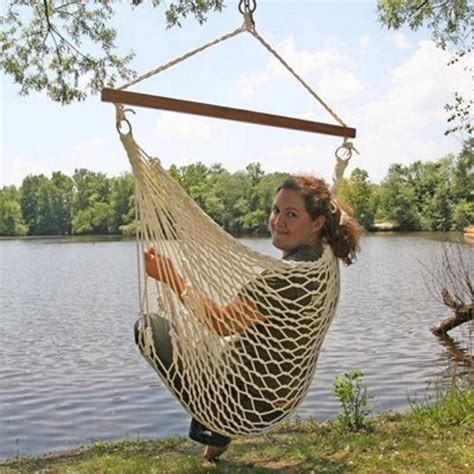 White Cotton Rope Swing Hammock Hanging Outdoor Chair