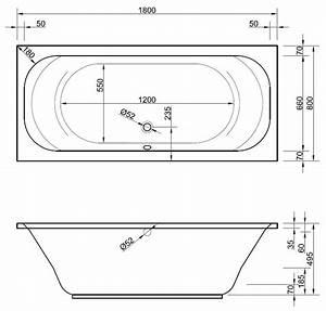 Badewanne 200 X 90 : rechteck badewanne 80 x 180 cm mit berlauf ablauf in der mitte ~ Sanjose-hotels-ca.com Haus und Dekorationen