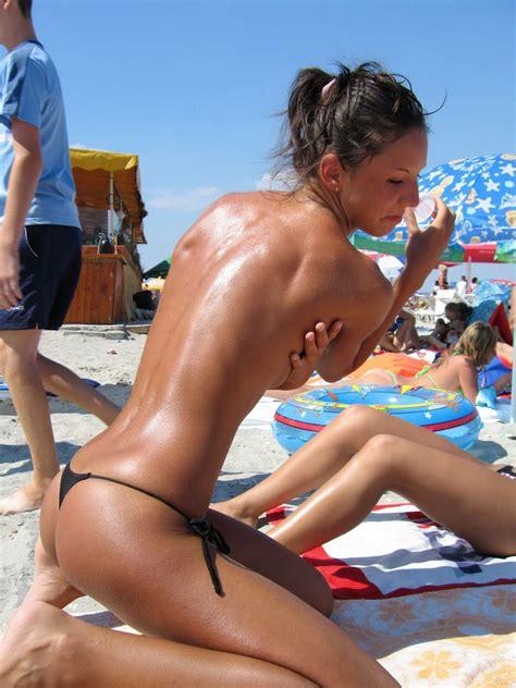Sexy topless at European Beach