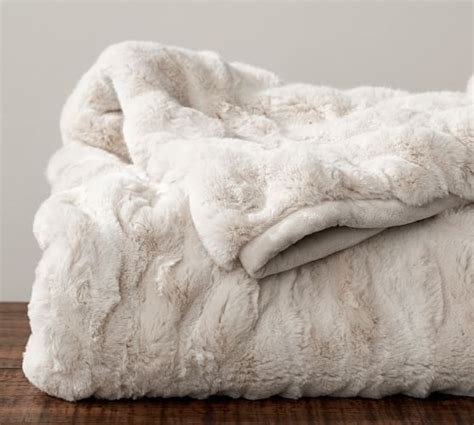 ivory duvet cover set ruched faux fur throw ivory pottery barn