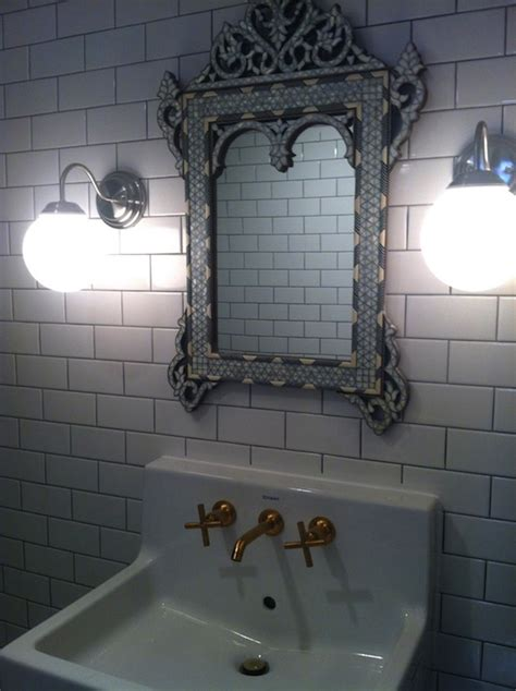 Tiled Bathroom Mirrors by Venetian Mirror In Bathroom Eclectic Bathroom Bijou