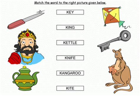 words that start with k preschool match the words starting with k 469