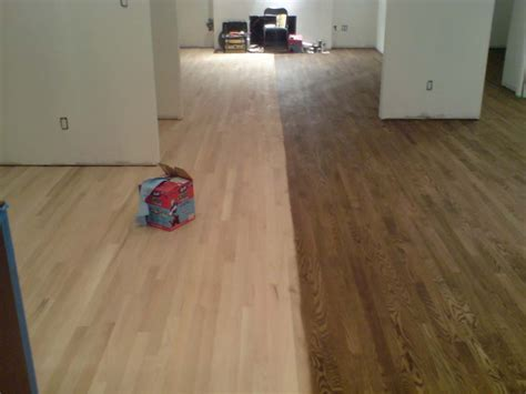 Staining hardwood floors. Sanding and finishing in