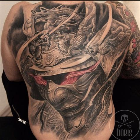 Black, Grey, And Red Japanese Warlord Tattoo Piece By